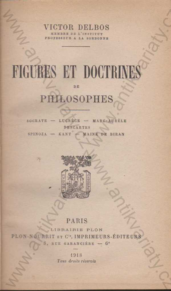 Victor Delbos - Figures et doctrines de philosophes