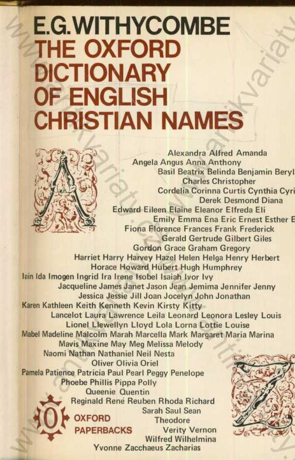 E.G. Withycombe - The oxford dictionary of english christian names